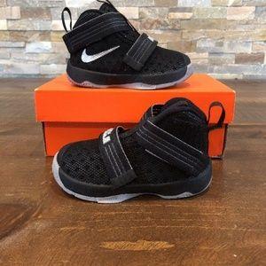 Nike Shoes - NIKE Lebron Soldier 10 Black & Silver Boys Size 5c